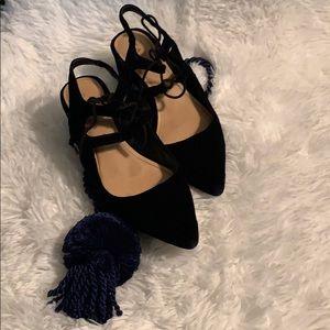 Zara Dark Navy Blue Lace Up Heel